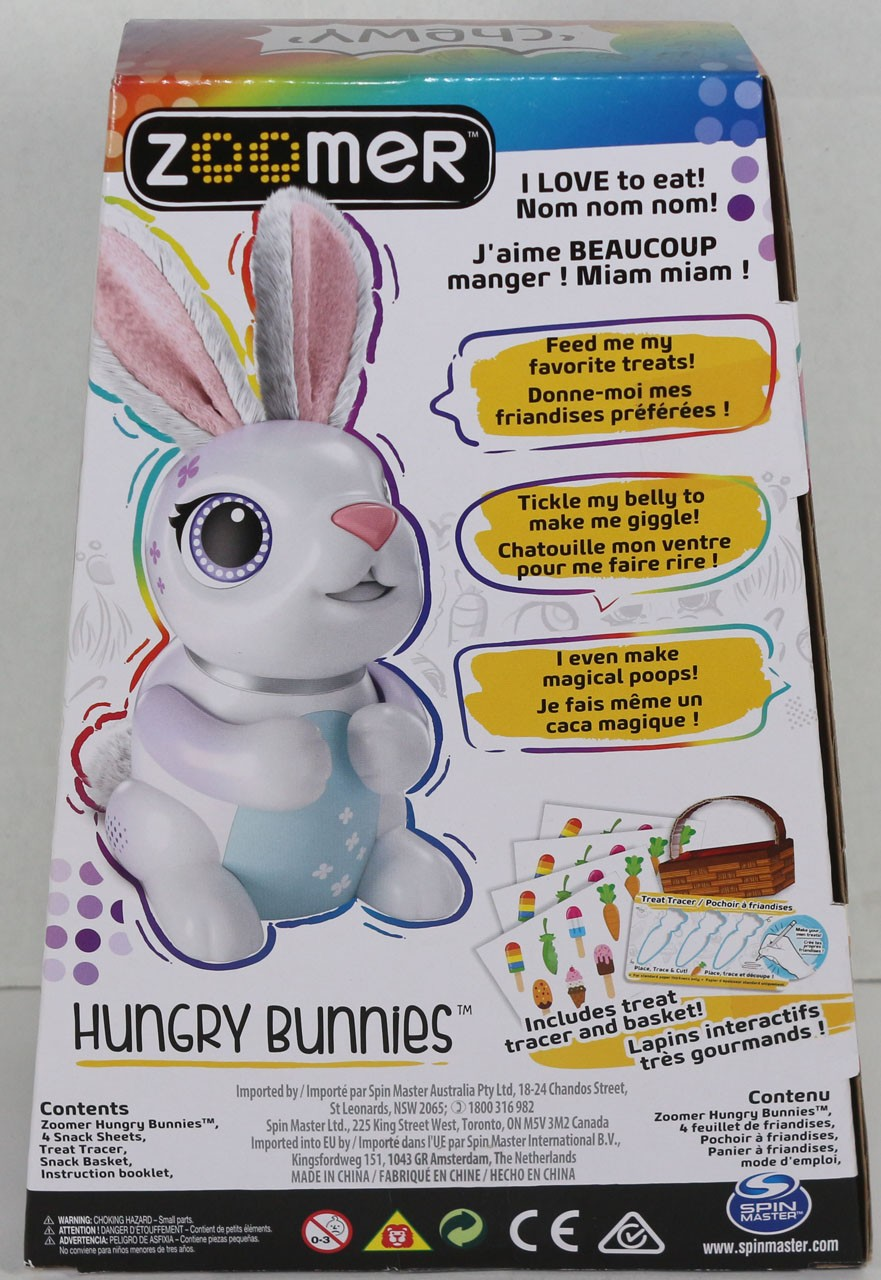 Spinmaster Zoomer Hungry Bunnies Chewy White Interactive Rabbit