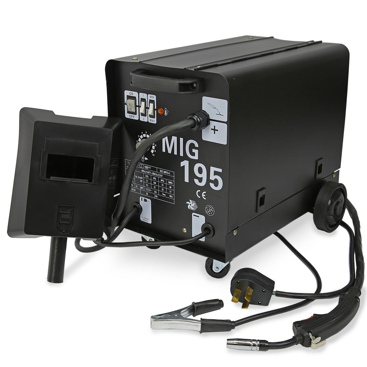 195 AMP DUAL MIG-195 230V Flux Core Auto Wire Welding Machine Gas No ...
