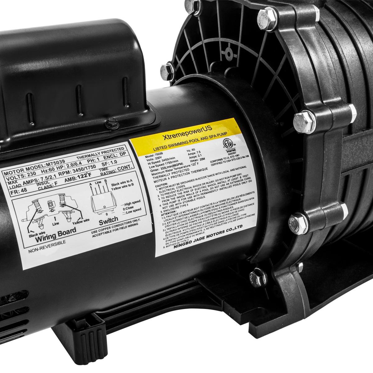 2hp In Ground Swimming Spa Pool Pump Motor Strainer Above Inground Wiring Switch 230v 2 Speeds
