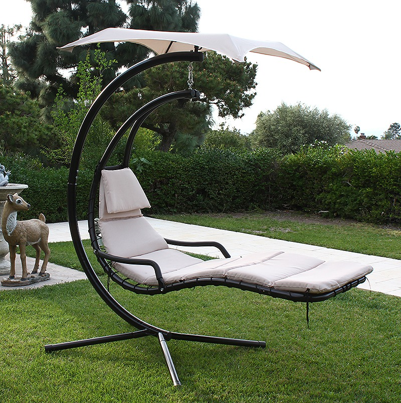 Hanging Helicopter dream Lounger Chair Arc Stand Swing Hammock Chair Canopy tan : dream chair chaise lounge - Sectionals, Sofas & Couches