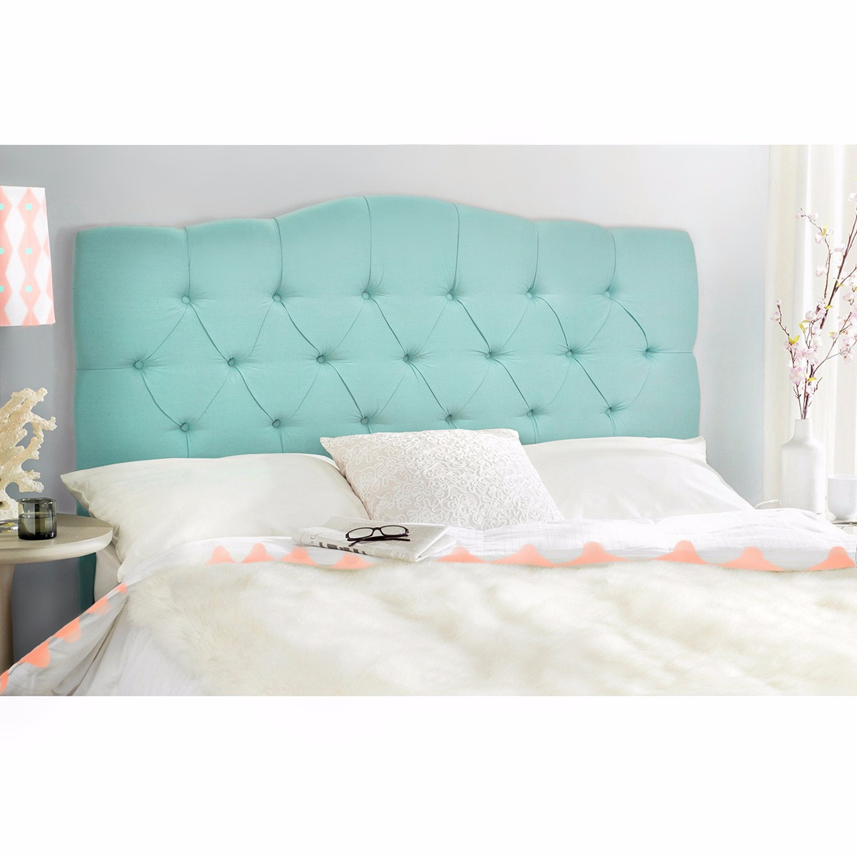 Queen full Upholstered Headboard bed frame Button Bedroom Furniture ...