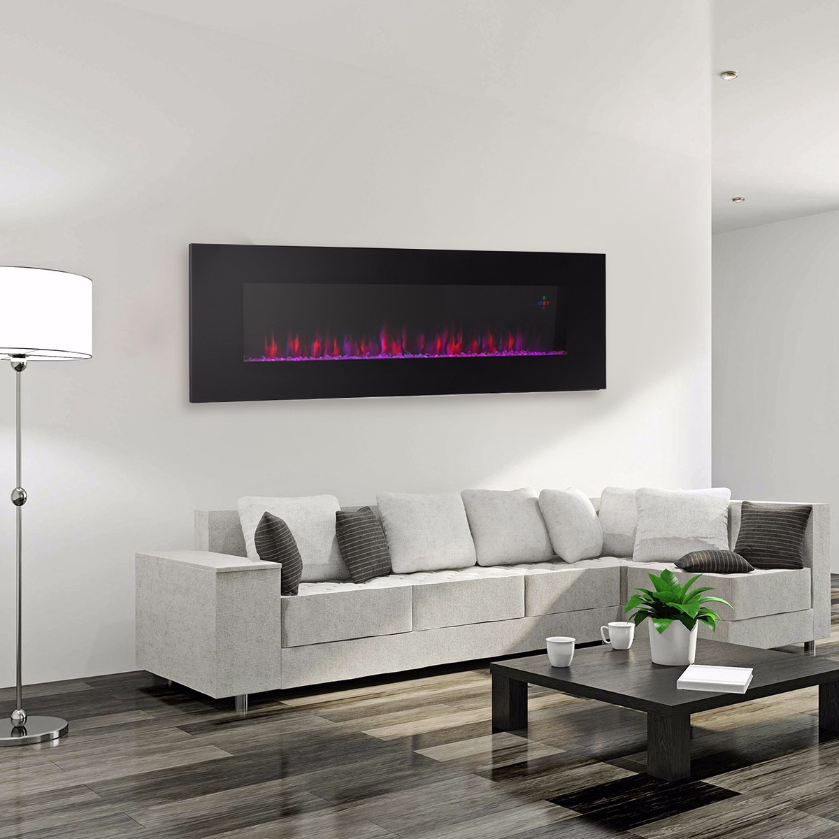 Contemporary Electric Fireplace Black 50\