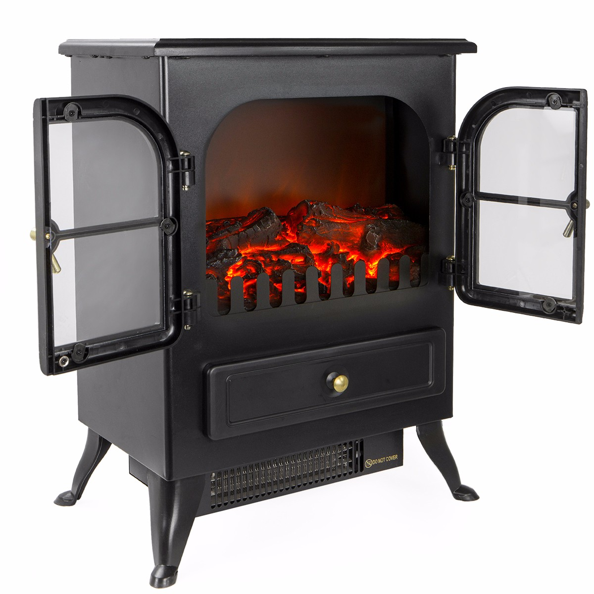 free standing electric 1500w fireplace heater fire stove flame