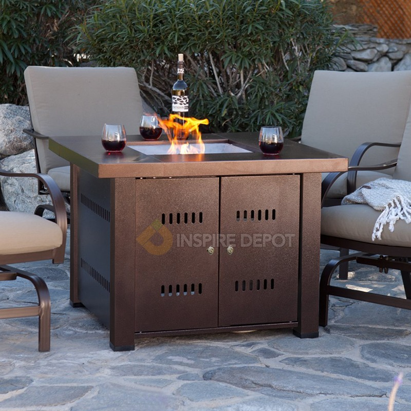 Patio Sets With Propane Fire Pit Table: Outdoor Fire Pit Table Patio Deck Backyard Heater