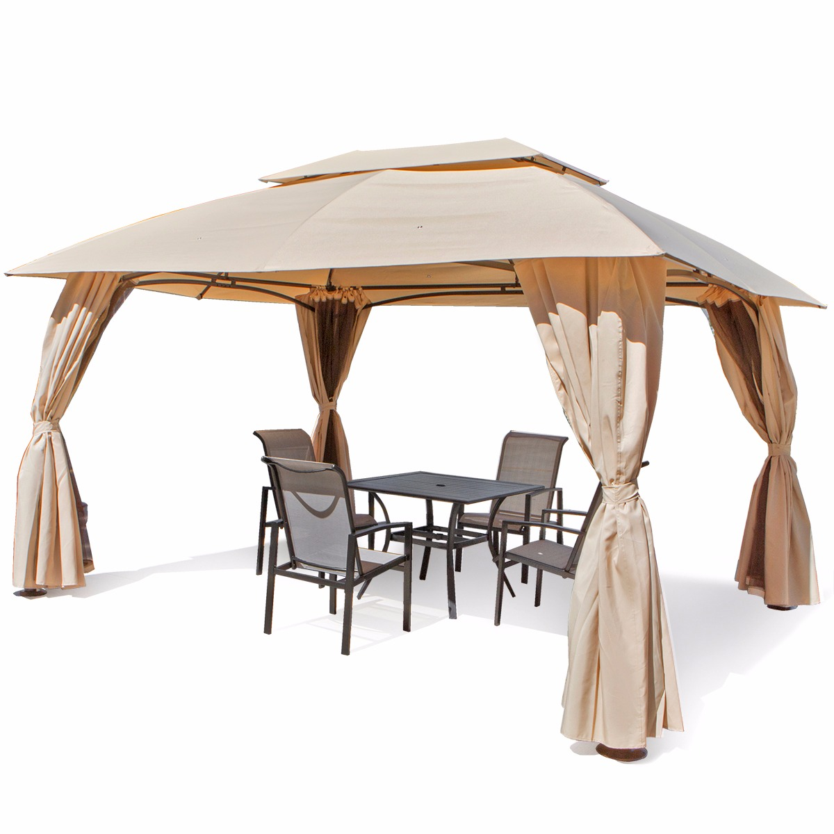Outdoor Home 10u0027 X 13u0027 Backyard Garden Awnings Patio Gazebo Canopy Tent  Netting