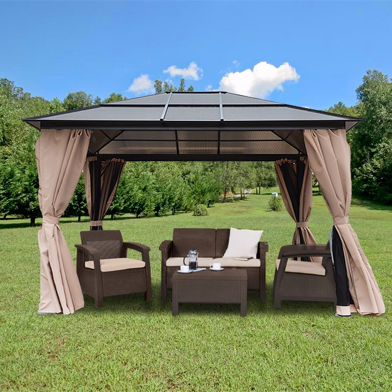 Resort 10 X 12 Hardtop Polycarbonate Roof Patio Gazebo
