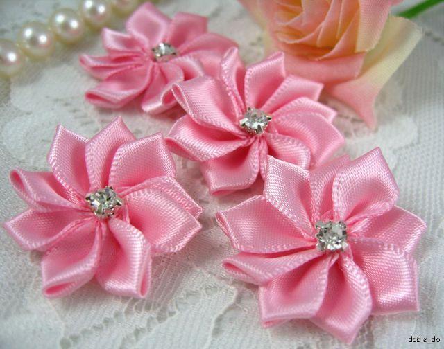 25 satin ribbon flower rhinestone appliques pink f005 ebay categories buttons brooch pin buckle ribbon flowers mightylinksfo