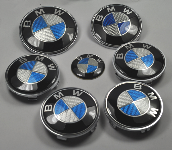 blau bmw 7 teilig emblem carbon set e36 e39 e46 e60 e65 e90 ebay. Black Bedroom Furniture Sets. Home Design Ideas
