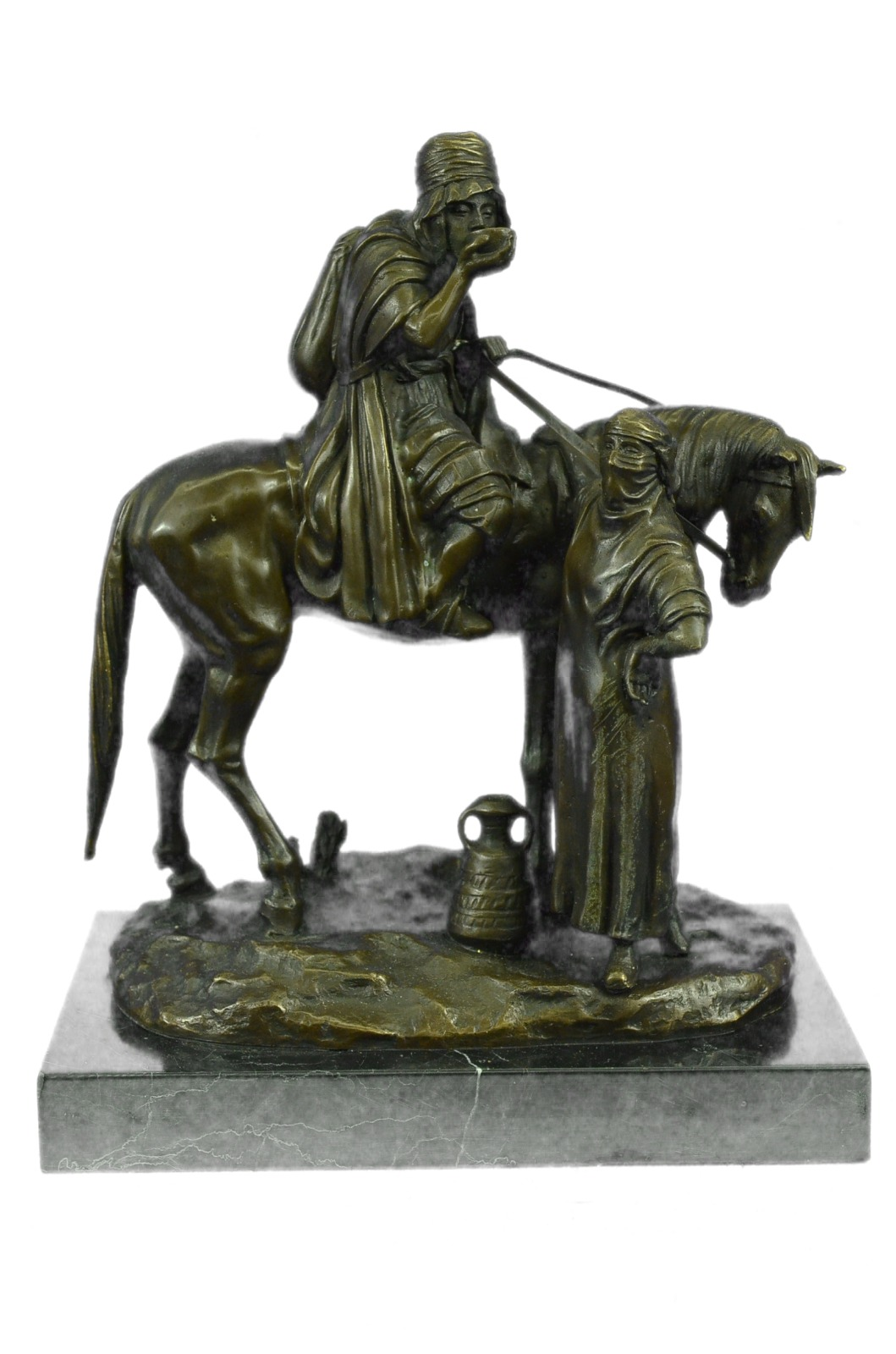 "Rare French bronze sculpture ""Arab cavalier on patrol"". Sculptor Dubucand Figure"
