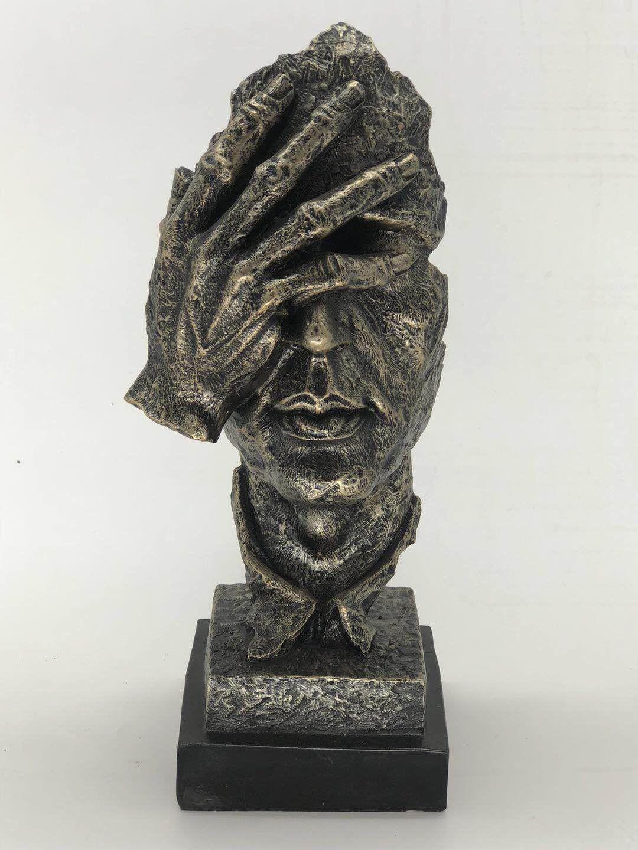 Three Faces A salvador Dali Tribute Cold Cast Bronze Sculpture Statue Figurine