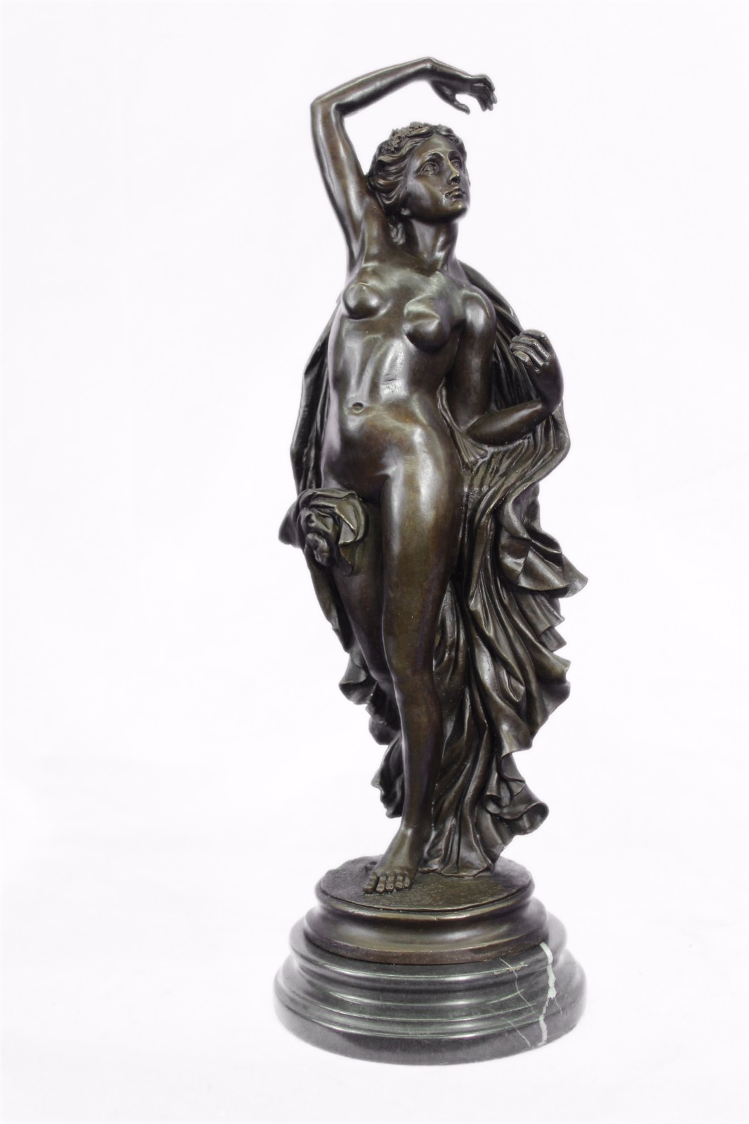 Original Aldo Vitaleh Large Nude Woman Nymph Goddess Bronze Sculpture Figur EXL