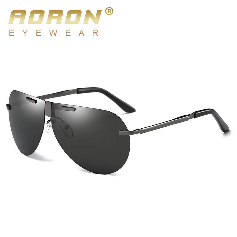b3a4e36ea64 AORON Men s Polarized Folding Sunglasses Metal Foldable Designer ...