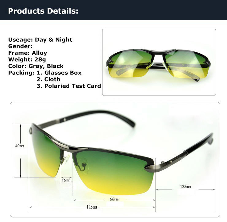 07438e9cc6 HD Day And Night Vision Men s Polarized Sunglasses Driving Pilot Mirror  Glasses