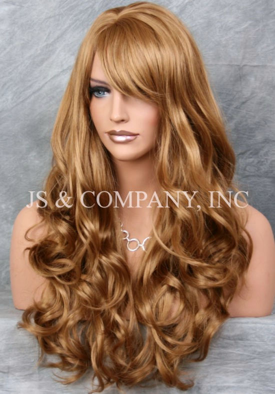 Details About Striking Long Wavy Curly W Bangs Strawberry Blonde Layered Stunning Wig Win 27
