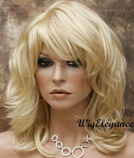 New Style Natural Wavy Layered Wig Pale Blonde Medium