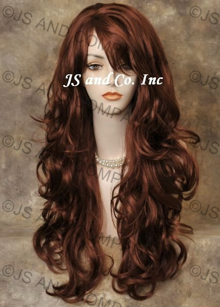 Details About Striking Long Wavy Curly Red Layered Wig With Bangs Stunning Win130 Hair Piece
