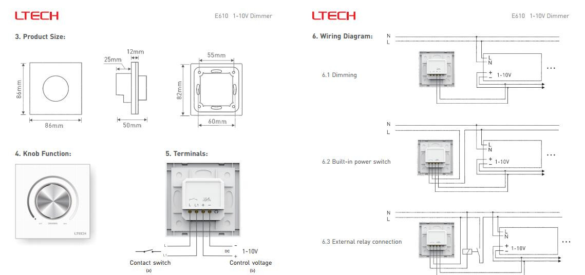 e610 2 ltech 0 1 10v 50 60hz 5a knob panel dimmer e610 for led strip 1-10v dimmer wiring diagram at soozxer.org