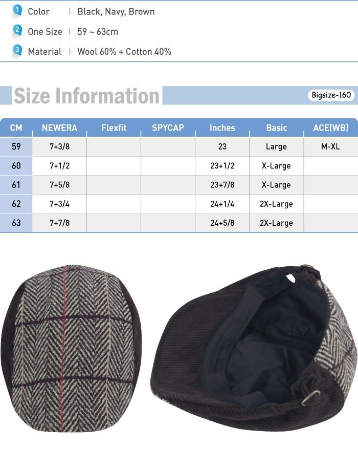 bbda459b401 G160 Herringbone Wool Corduroy Beret Newsboy Cap Plus Size XL XXL ...