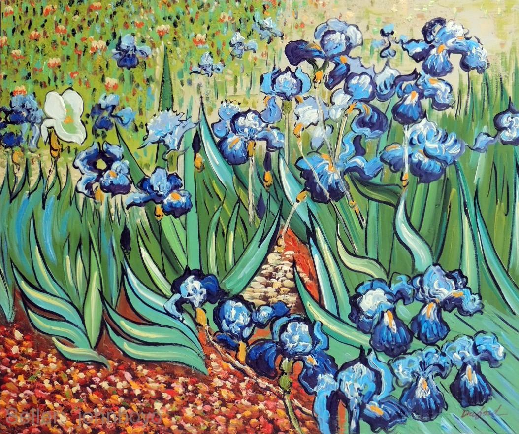 Iris Blue Flowers Vincent Van Gogh Classic Repro Stretched