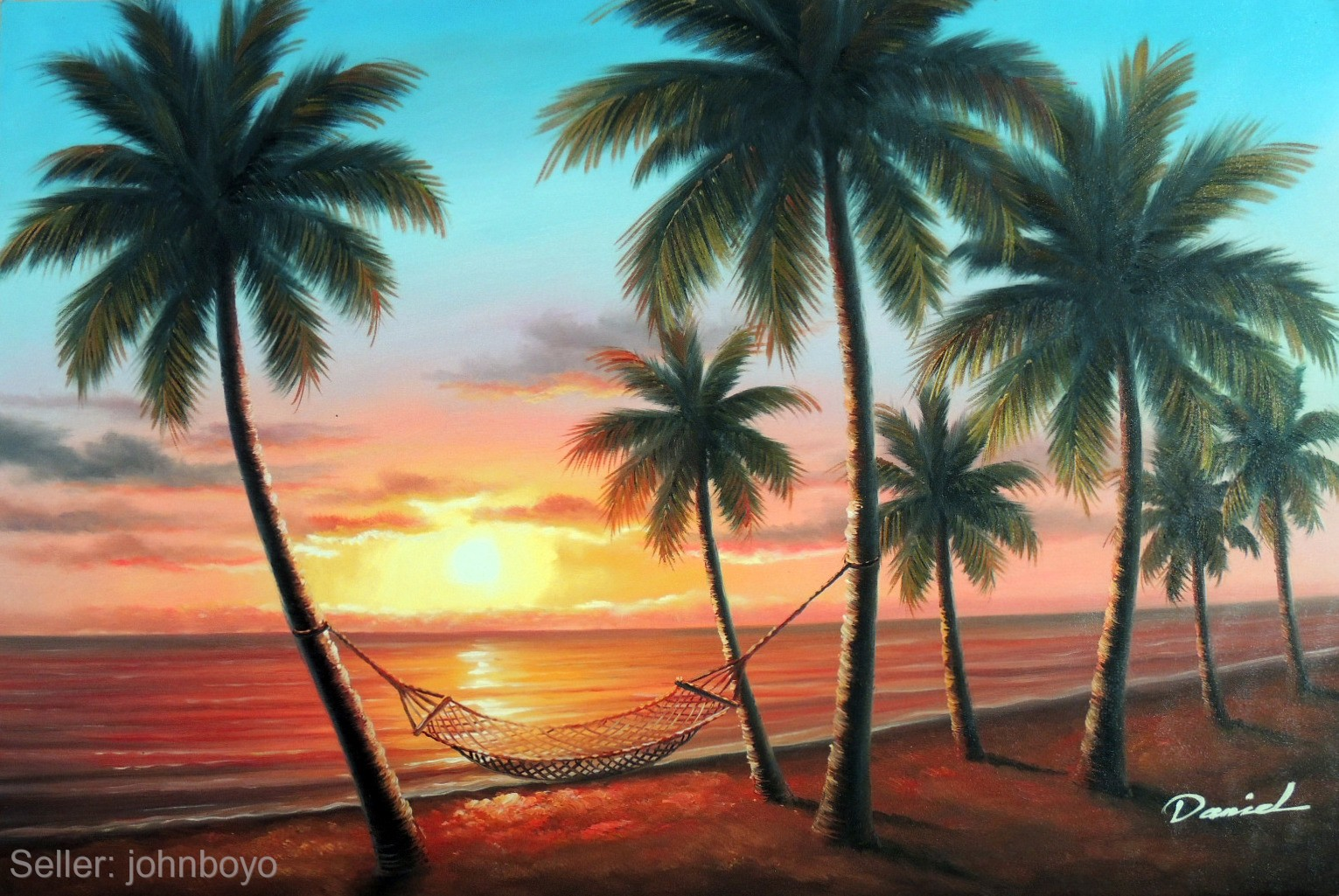 Hawaii Sunset Beach Hammock Island Shore Palm Tree