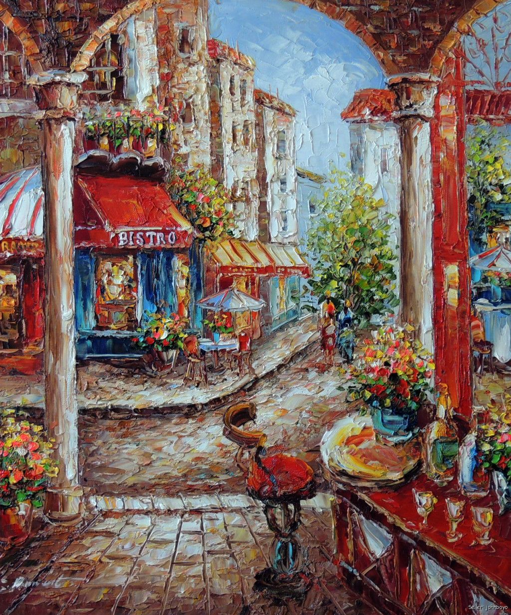Italian Town Bistro Bar Restaurant Flowers Sidewalk Table