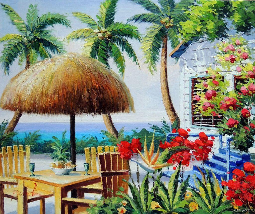 Caribbean Beach: Caribbean Beach Shore House Patio Flowers Turquoise Ocean