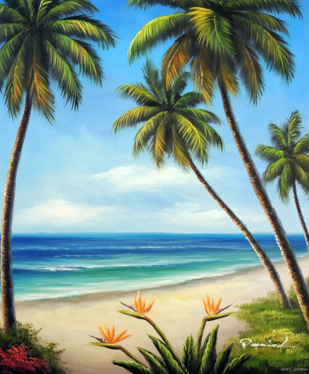 Palm Tree Beach: Hawaii Beach Sand Surf Palm Trees Bird Of Paradise Flowers