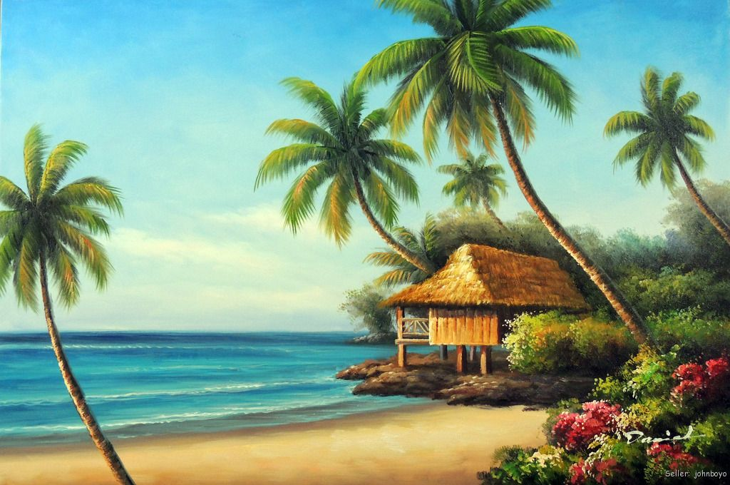 Beach House Shore Hawaii Coast Palm Trees Seascape Art ...  Hawaiian Palm Tree Drawings