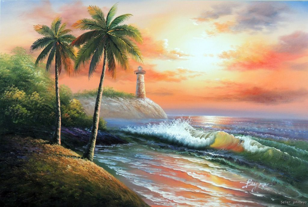 Tropical Island Sunset: Tropical Island Sunset Beach Palm Tree Surf Waves
