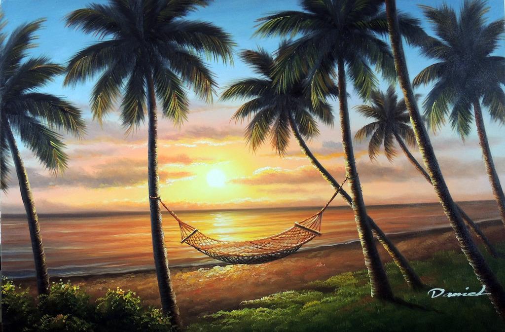 Hawaii Sunset Beach Island Shore Palm Tree Hammock