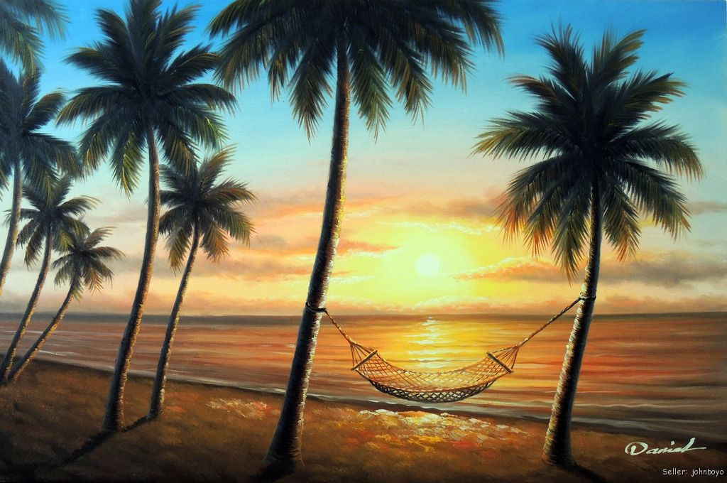 Tropical Island Beach Ambience Sound: Hawaii Sunset Beach Hammock Island Shore Palm Tree