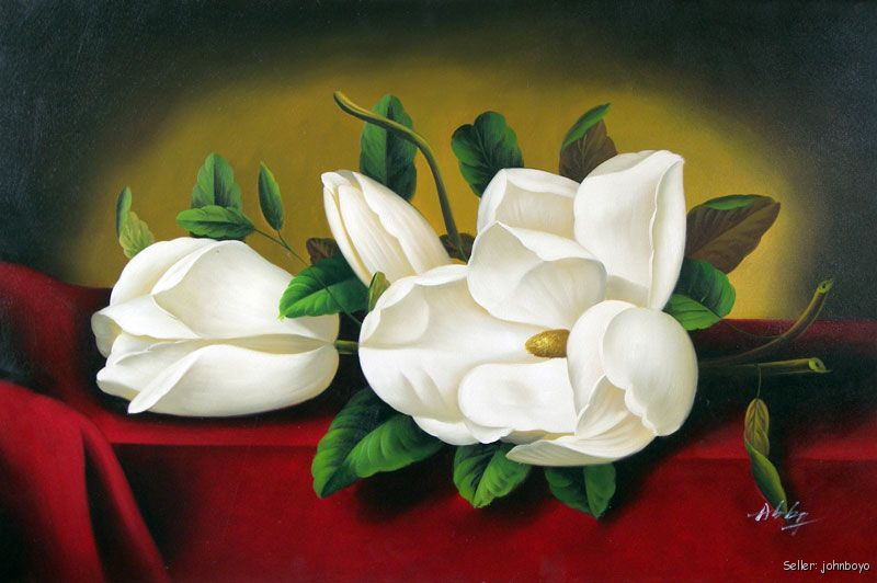 White Magnolia Flowers Buds Floral Large Oil Painting | eBay