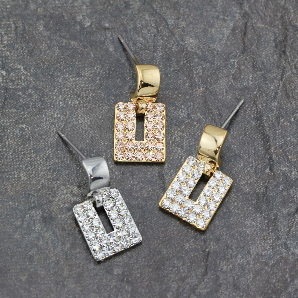 1f5ac9651 Details about Stunning 18K Gold Plated Crystal Rectangle Drop Dangle Stud  Earrings 3 Colours