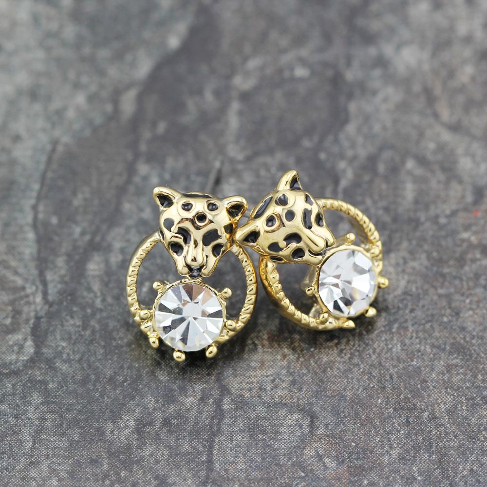 Women 18K Rose GOLD GP Cheetah Leopard Head Ball Bead Drop Stud Fashion Earrings