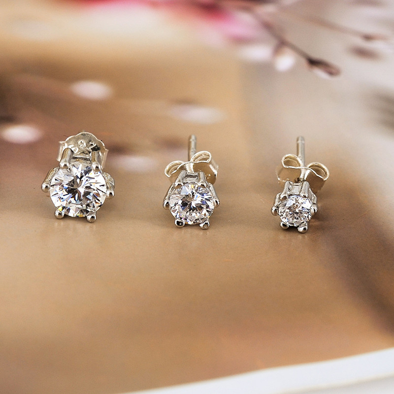 925 STERLING SILVER LAB DIAMOND BLING OUT STUD EARRING 12MM R462