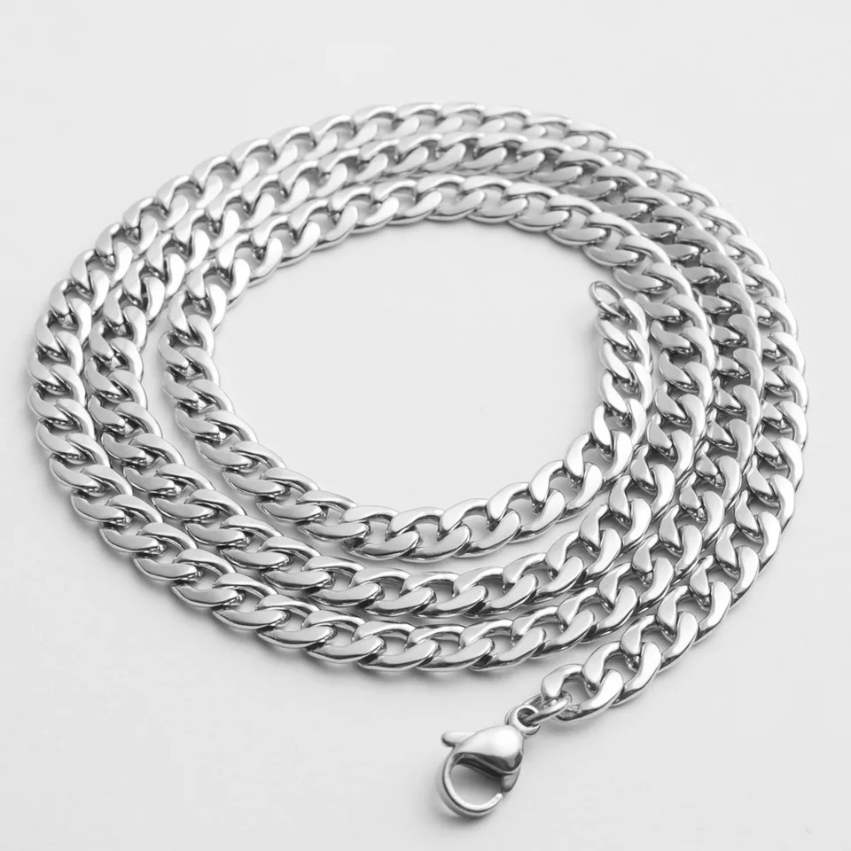 Men/'s Unisex 316L Stainless Steel 6MM Curb Link NK Necklace Chain Wholesale