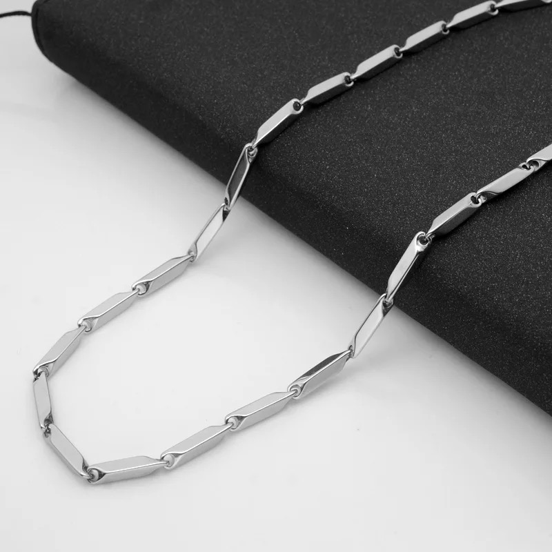 Wholesale Stainless Steel Silver Rhombus Square Seeds Chain Necklace Men/'s Gift