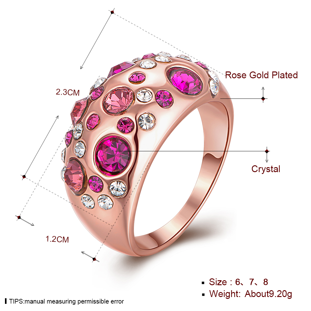 New 18K Solid Gold Plated Fashion Wedding Ring Pink SWAROVSKI ...