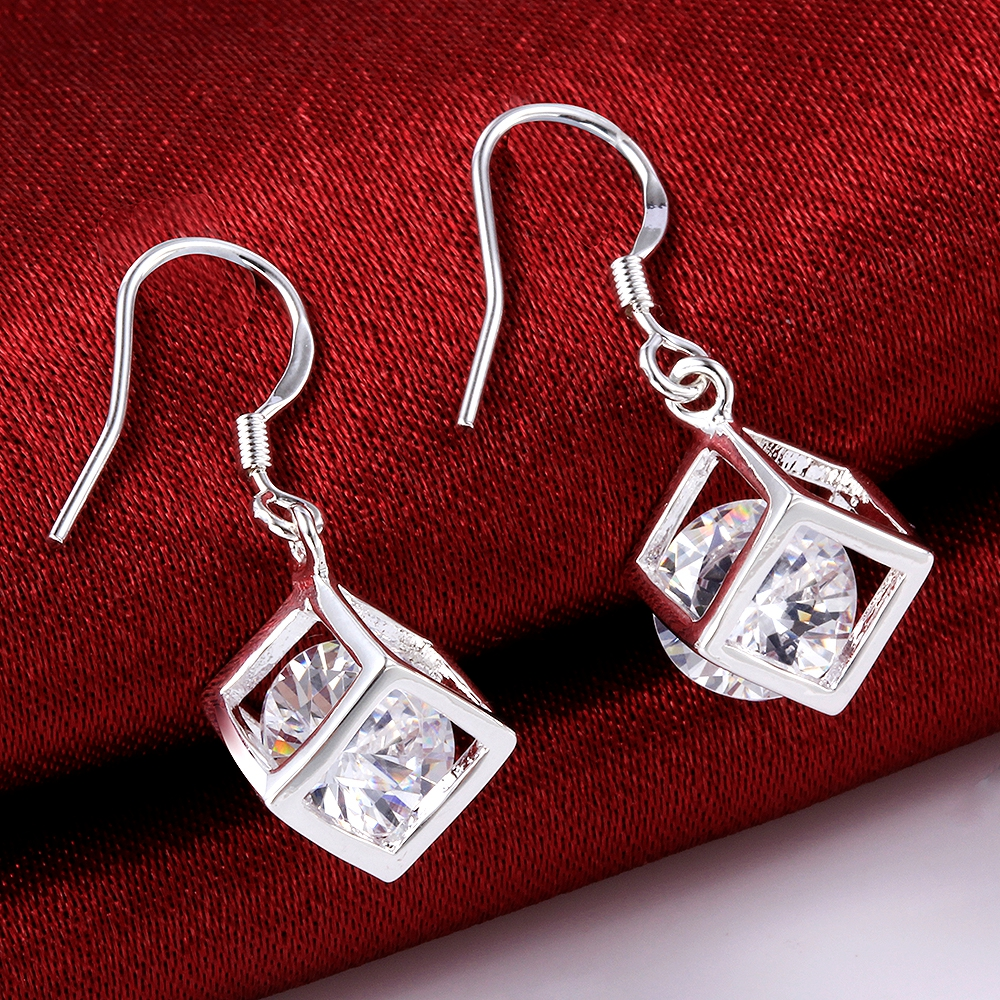 Fashion Jewellery 925 Sterling Silver CZ Cubic Zircon Cube Dangle Hook Earrings