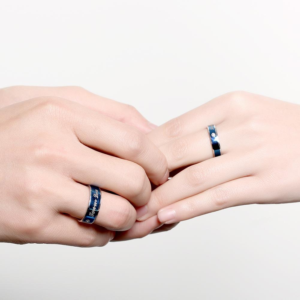 Women Men Titanium Steel Crystal Forever Love Engraved Couple Band ...