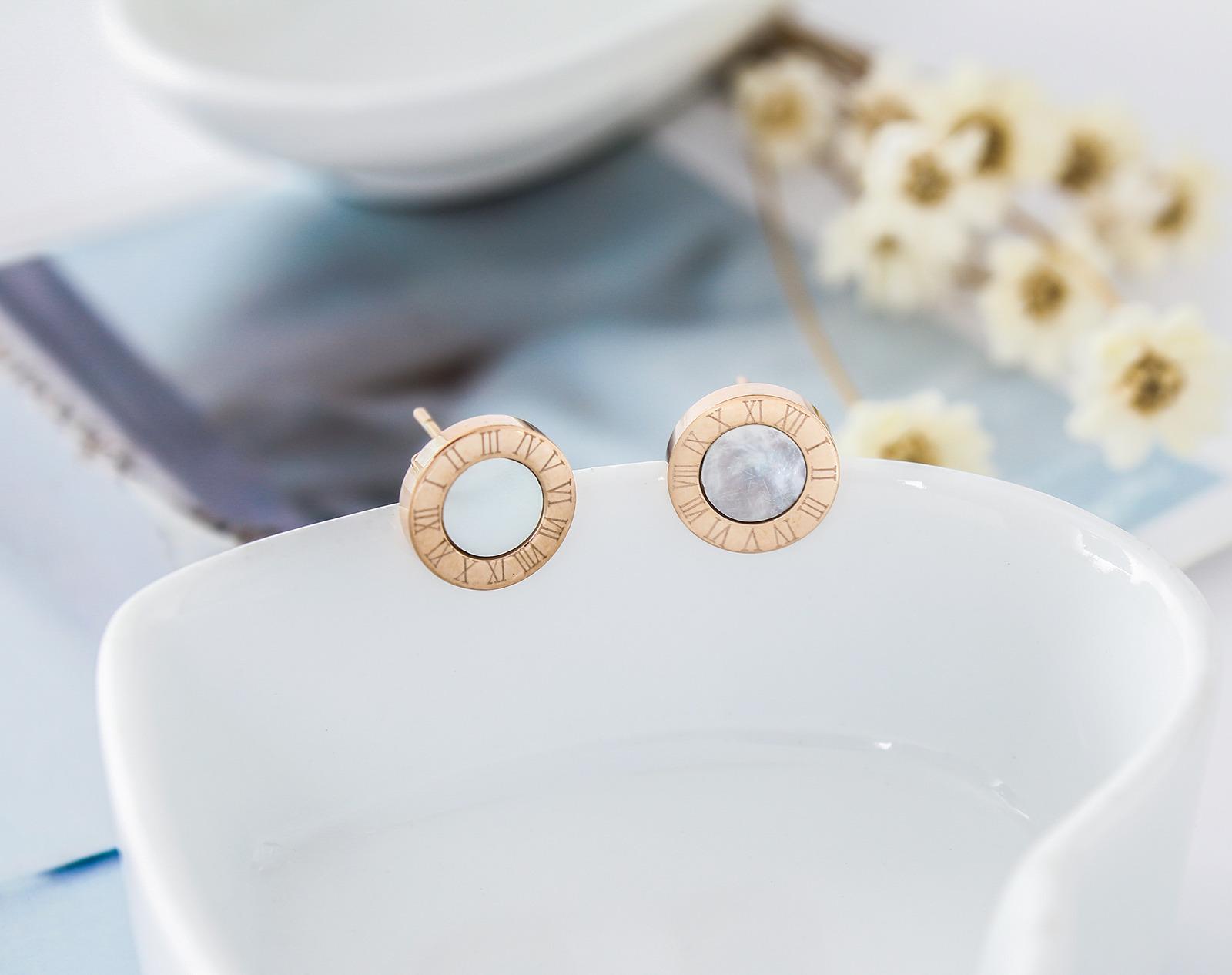 18K Rose Gold GF Mother of Pearl Love Heart Drop Pendant Dangle Stud Earrings
