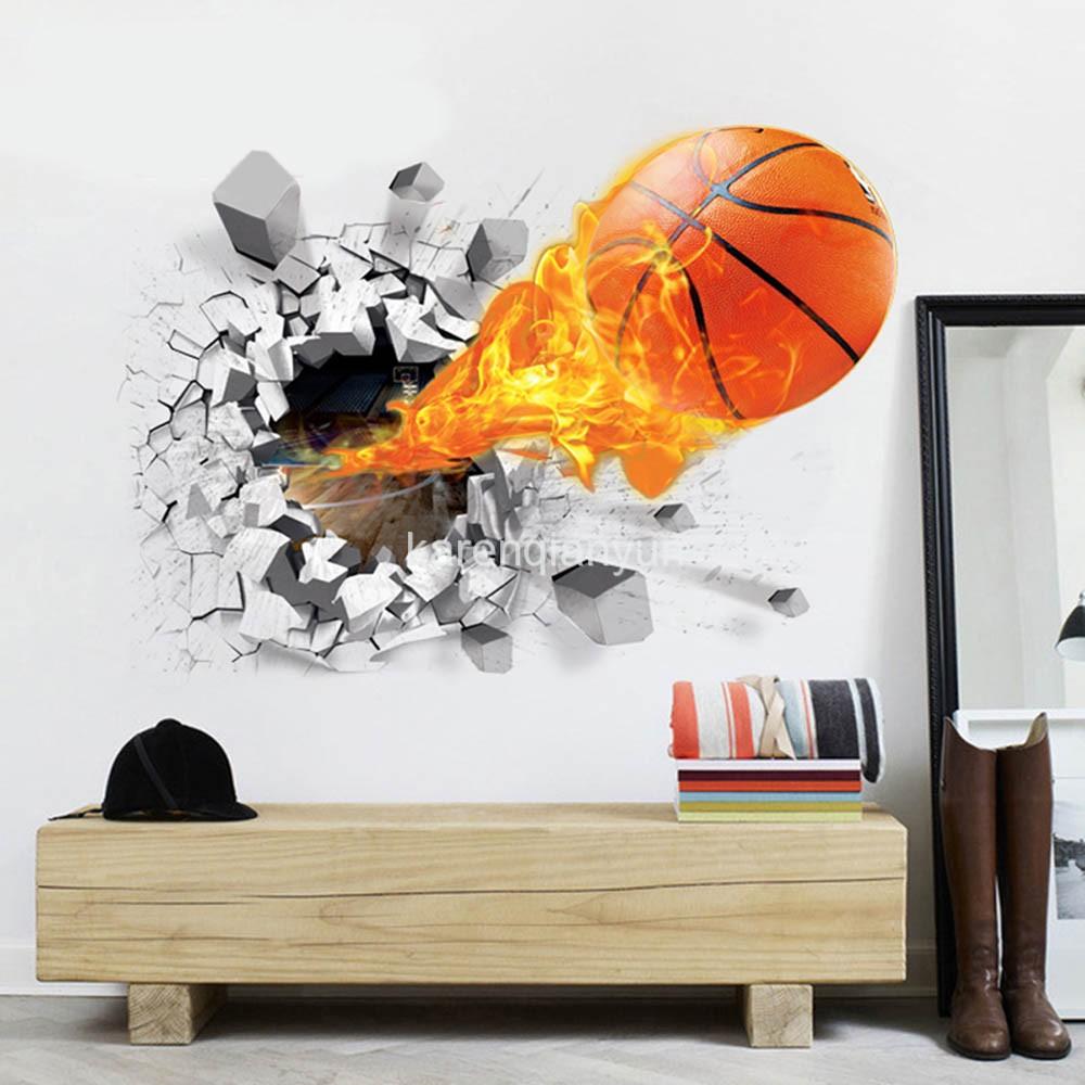 Football Basketball Wallpaper 3D Wall Stickers For Kids Room Vinyl  Removable Art