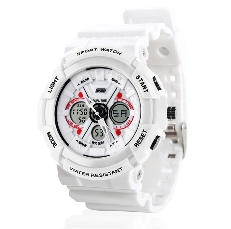 Women White Digital Watch Waterproof Men Army Analog LED Rubber Band ... 84faed2360