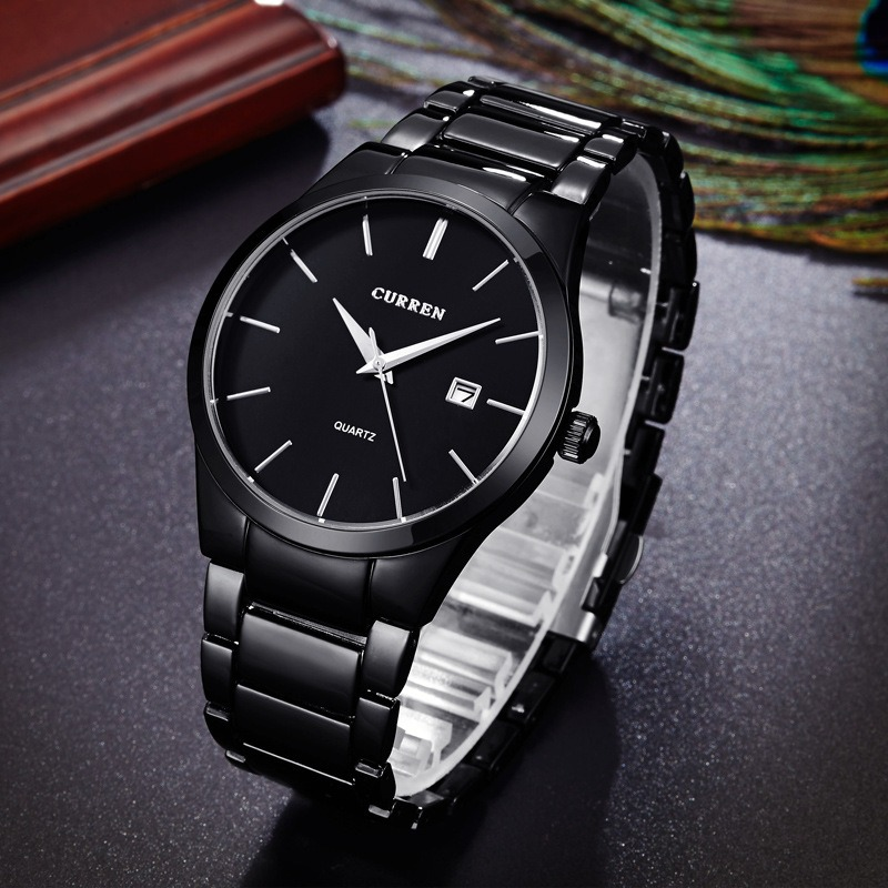 Curren men fashion military stainless steel analog date sport quartz wrist watch ebay for Stainless steel watch
