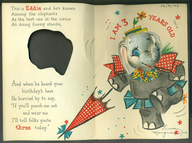 Vintage Greeting Card Happy Birthday 3 Year Old 3D Elephant Punches