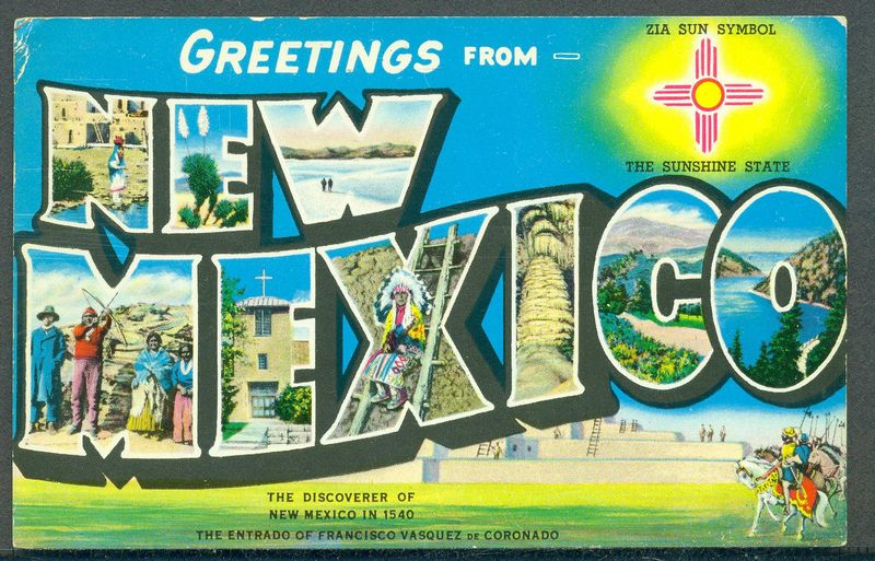 Super Large Letter GREETINGS from NEW MEXICO 1962 Postcard | eBay HI15