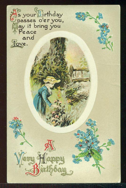 A VERY HAPPY BIRTHDAY Pretty Lady Picks Flowers Verse Vintage Postcard