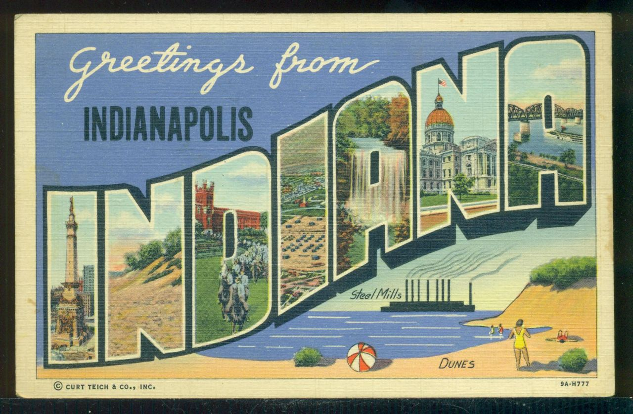 Large Letter Greetings From Indianapolis Indiana Vintage Unused