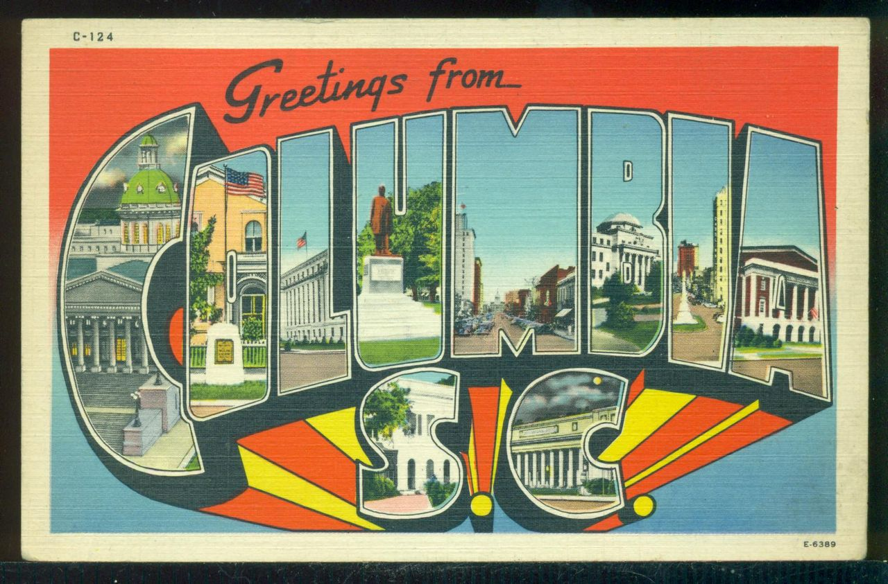 Large Letter Greetings From Columbia South Carolina Vintage Unused