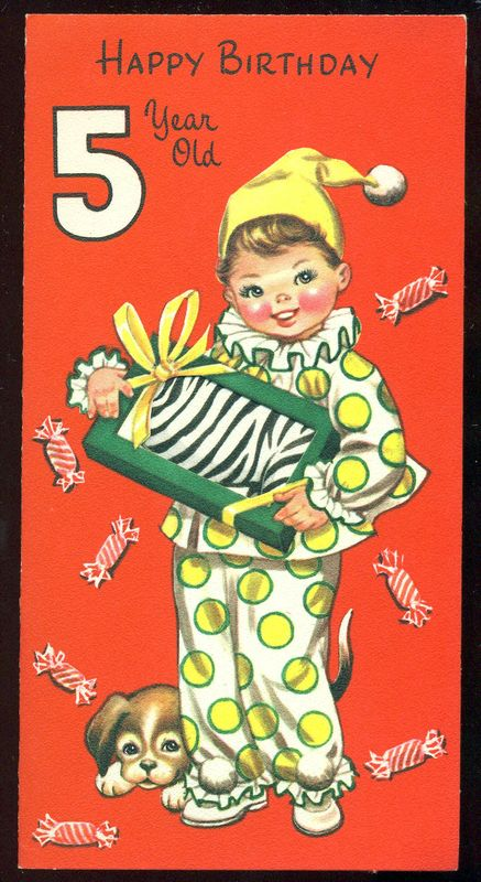 Details About Vintage Birthday Greeting Card BOY PUPPY CANDY ZEBRA HAPPY BIRTHDAY 5 YEAR OLD